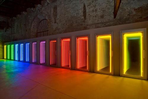 Ivan Navarro neon door instalation