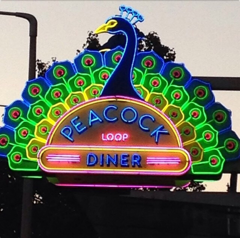 Peacock diner neon sign