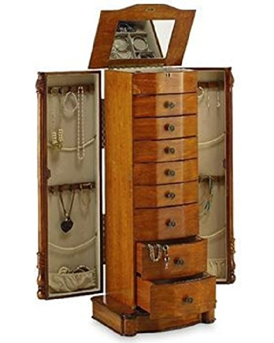 All Wood Jewelry Armoire ~ Large floor standing drawer wooden jewelry armoire with
