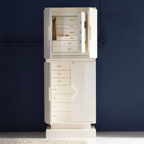 White Maple Premium Jewelry Armoire with Safe