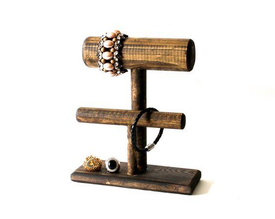 Wood Bracelet Display 2-Tier, Bracelet Stand, Wood Jewelry Display, Bracelet Holder, Choose the Color