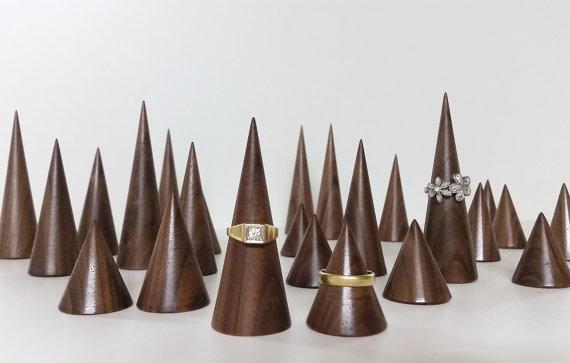 Brown Minimalist Wooden Jewelry Display Cones