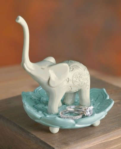dish Soapstone BLACK Elephant Trunk Up Good Luck Ring Jewelry Holder