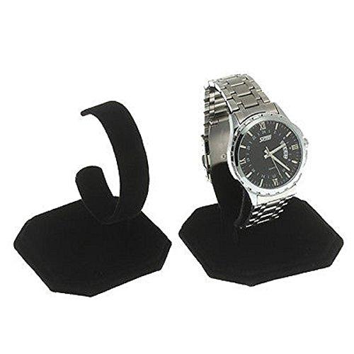 3 Black Velvet Watch Bracelet Holder Set Display Stands