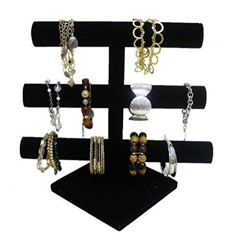 3 Black Velvet Bracelet T-Bar Displays