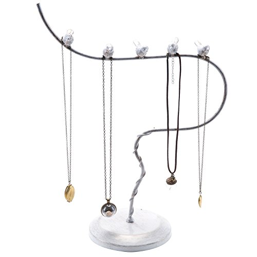 Vintage White Metal Bird Shaped Jewelry Tree Stand Necklace Holder Rack Zen Merchandiser