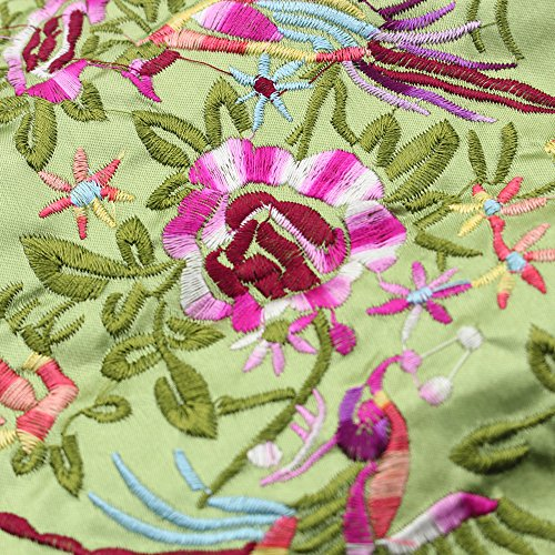 Gracallet Soft Silk Embroidery Brocade Peony Floral Print Fabric