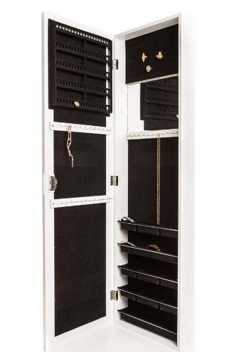 Jewelry Armoire Organizer Storage, Over The Door Mirror With Jewelry Storage