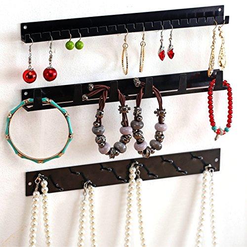 Mygift Wall Mounted Black Metal Jewelry Organizer Racks Earrings Necklace Hanger Hooks 3 Piece Set