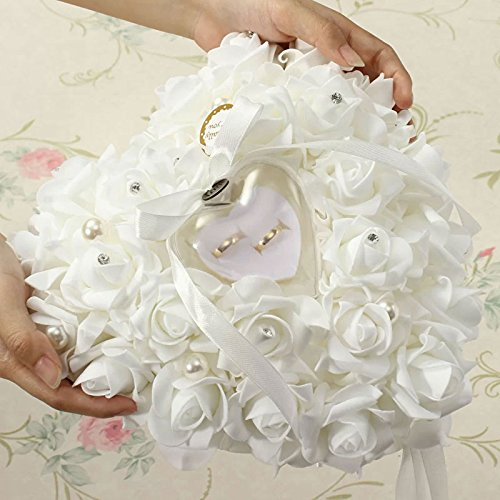 C Pioneer Romantic Heart Shaped Pearl Rose Wedding Ring Pillow