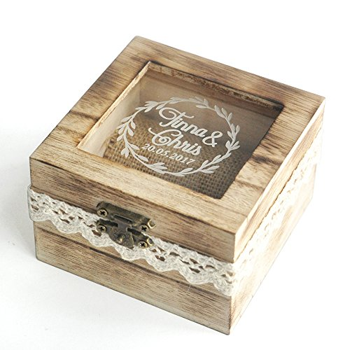 Personalized Wedding Ring Box Rustic Ring Bearer Box Custom Wooden Ring Box