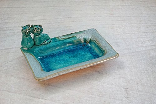 Ring dish with two cats kittens Wedding ring holder jewelry dish engagement gift soap dish turquoise Decorative valentine/'s day
