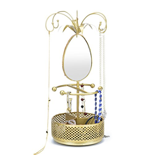 Hanging Jewelry Organizer Necklace Hanger Bracelet Display Flower Rack With Rotatable Mirror Ring Round