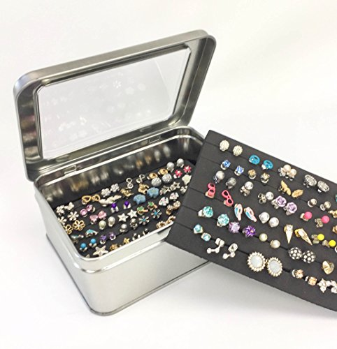 Tin Jewelry Box Earring Holder Travel Case Extra Insert Keep Backs On