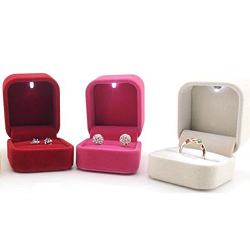 Mxy Velvet Jewellery Box With Led Light Jewelry Ring Holder Earrings Gift Bo Display Cutely Small Case Beige