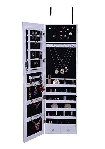 Btexpert Premium Handmade Wooden, Over The Door Mirror With Jewelry Storage