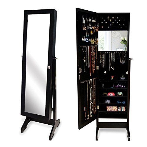 Gls Black Mirrored Jewelry Armoire With Lock Stand Wall