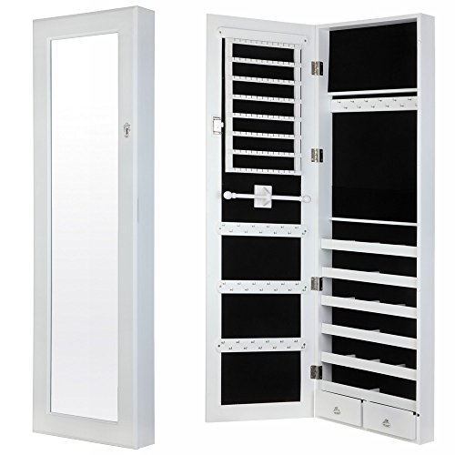 Homegear Modern Door Wall Mounted, Jewelry Cabinet Wall Mounted Mirrored Armoire Storage Organizer