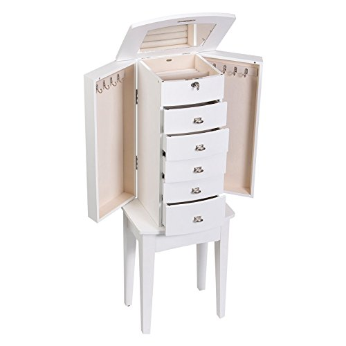 Mele Co Hadley Wooden Jewelry Armoire White Finish