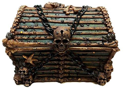 Ebros Pirate Davy Jones Ghost Haunted Sunken Ship Small Treasure Chest Box Featuring A Cross Chained Skull Jewelry Box Figurine As Decorative Secret Stash Box Container Organizer For Gothic Halloween Zen