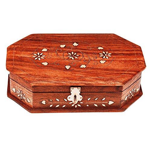 Wooden Jewelry Box w// Lock Storage Rings Holder Trinket Case Organizer Gift