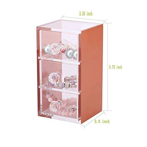 Boknight Acrylic Jewelry Organizer Mini Acrylic 3 Drawers Jewelry Storage Box For Jewelry And Cosmetic Storage Clear Zen Merchandiser