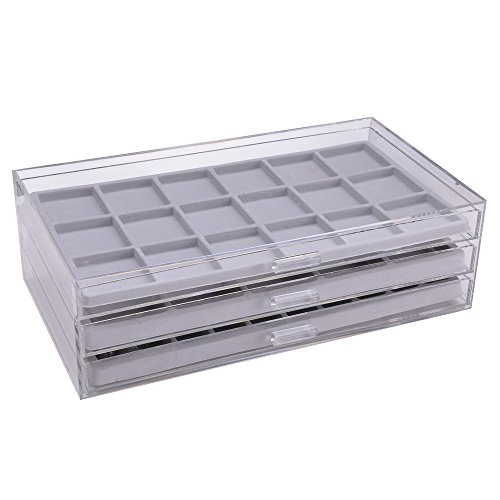 Ikee Design Acrylic 3 Drawers Jewelry Organizer Display Chest With Gray Compartment Trays Made In Taiwan Zen Merchandiser