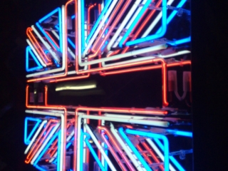 British Union Jack Neon Sign representing the British flag made entirely with neon.