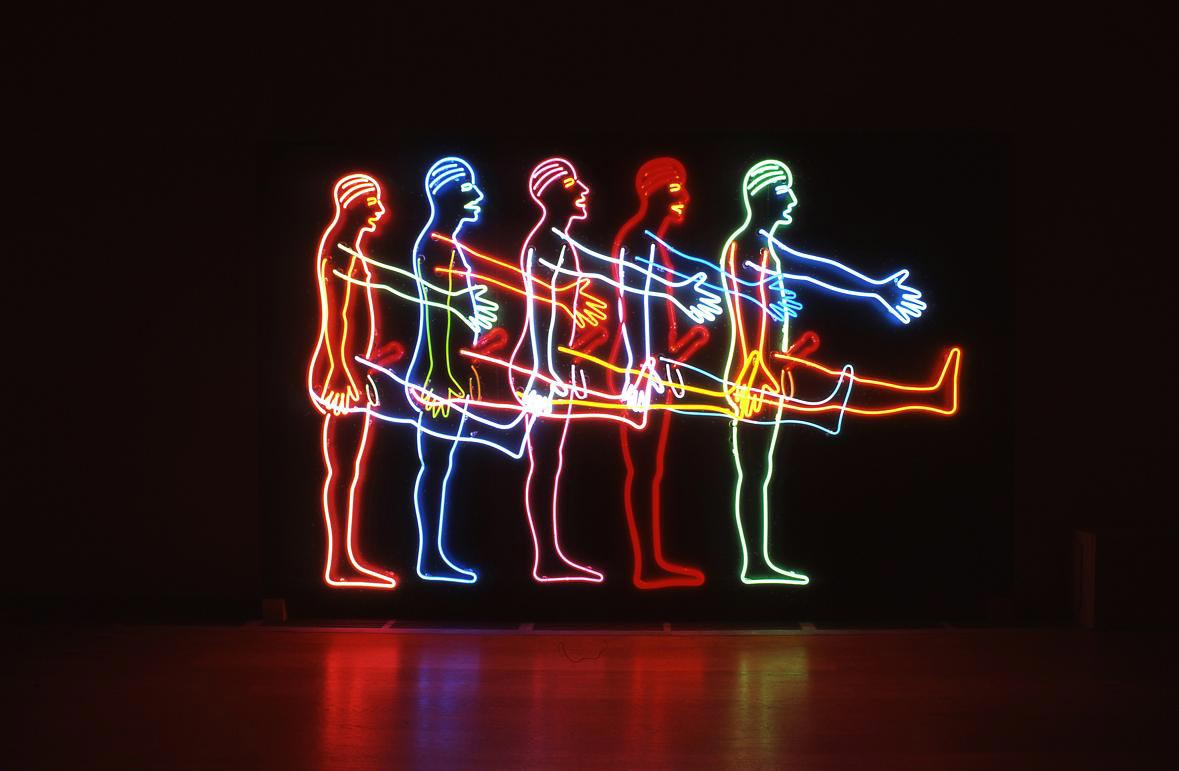 "A Bruce Nauman neon installation entitled ""Five Marching Men""."