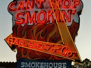 """Illuminating that giant sign with some neon text is a great idea, inspiration from """"I can't stop smokin'"""" in Ruidoso, New Mexico."""