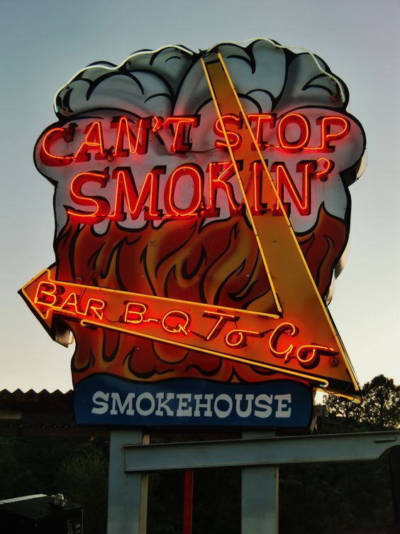 "Illuminating that giant sign with some neon text is a great idea, inspiration from ""I can't stop smokin'"" in Ruidoso, New Mexico."