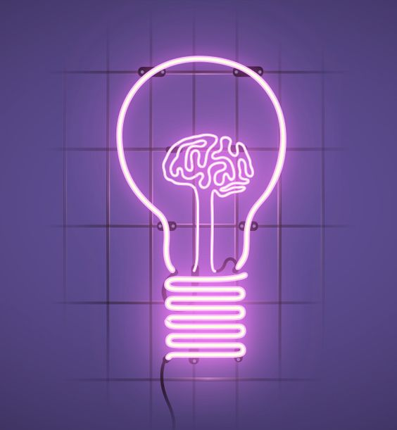 A very creative neon sign using the light-bulb as a metaphor for ideas with a brain inside it.