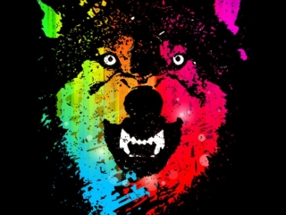 """T-shirt design entitled """"The Neon Wolves"""" made by Moncheng."""