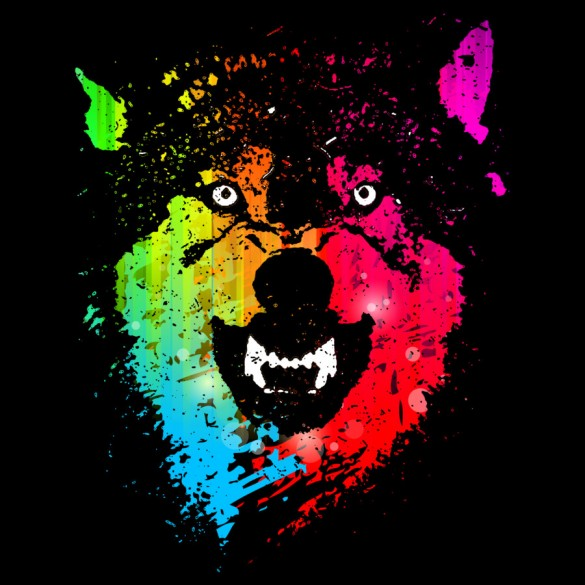 "T-shirt design entitled ""The Neon Wolves"" made by Moncheng."