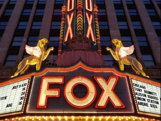 The neon sign of the Fox Theater in Detroit, Michigan is a perfect combination of light and symmetry.