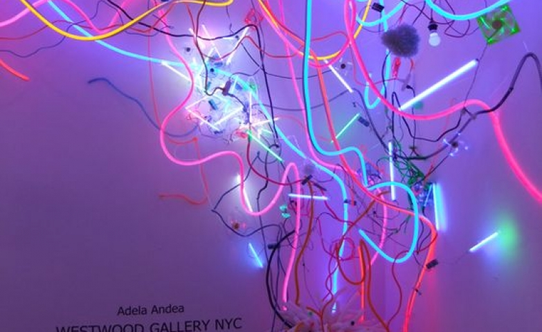 Adele Andrea neon light installation in the Westwood Gallery NYC.
