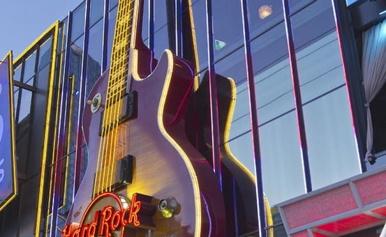 Neon lights and neon guitar for the Hard Rock Entertainment Center in Las Vegas, Nevada. Art by Gino Rigucci.