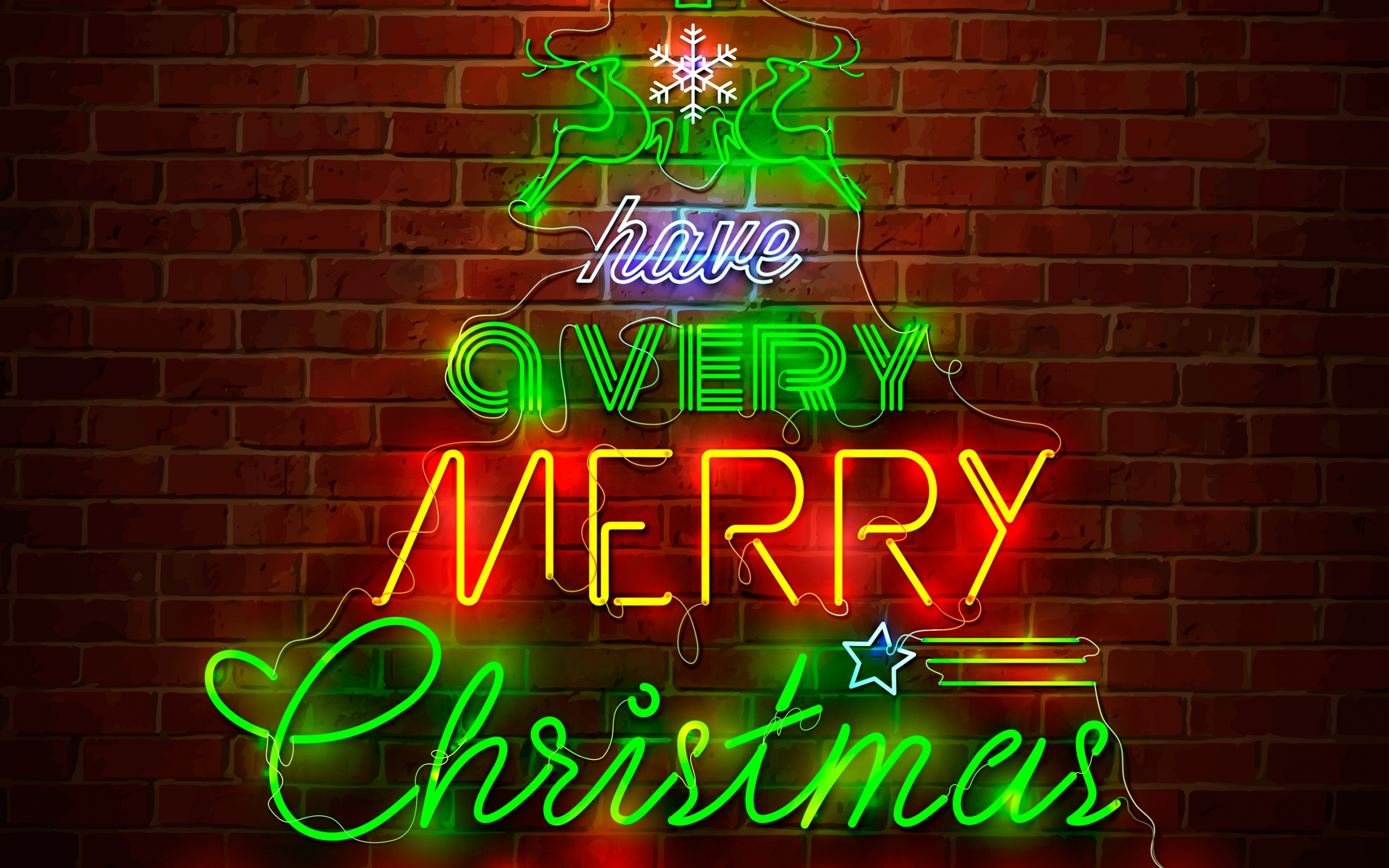 ¨Have a very merry Christmas¨ text and festive elements neon sign on a brick wall.