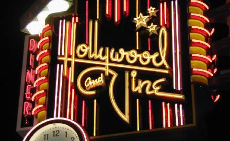Hollywood and Vine Diner, sign and exterior illumination made with neon lights.