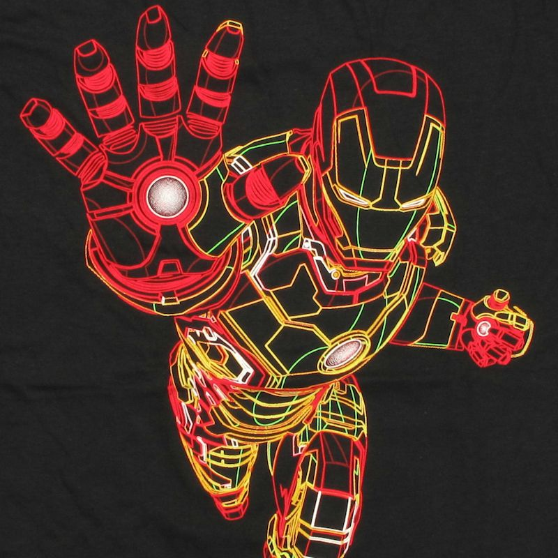 Complex and very detailed Iron Man figure made from neon wire frame.