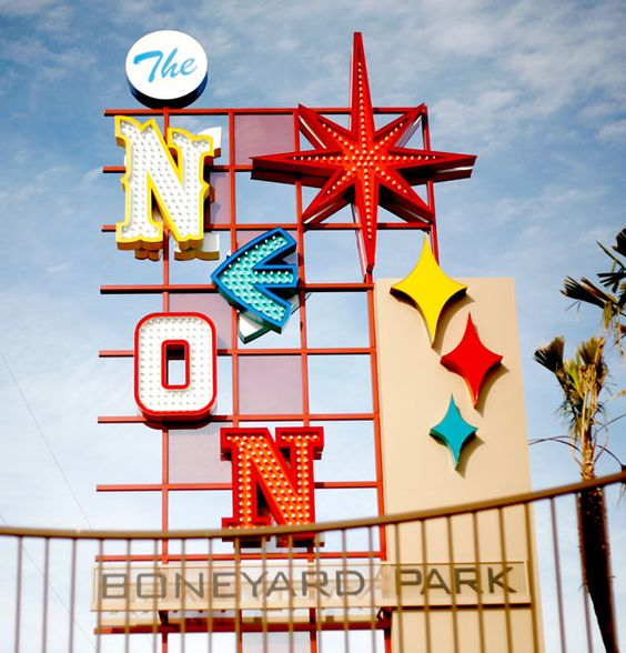 The sign for the Neon Museum in Las Vegas, colorful letters in different using different lettering.