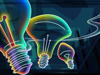 Digital design idea for light-bulbs made with neon lights.