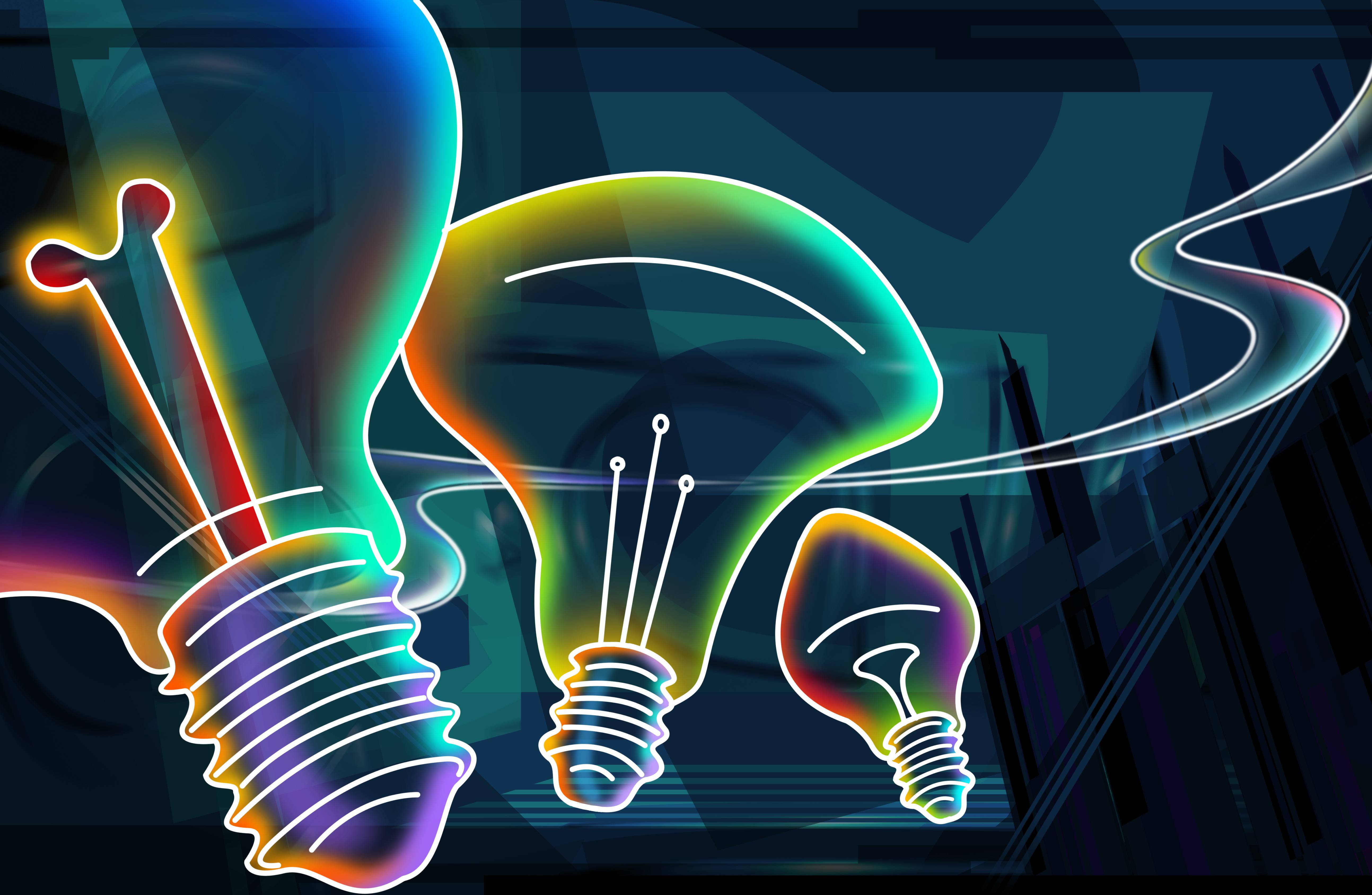 Digital design idea for light-bulbs made with neon lights.