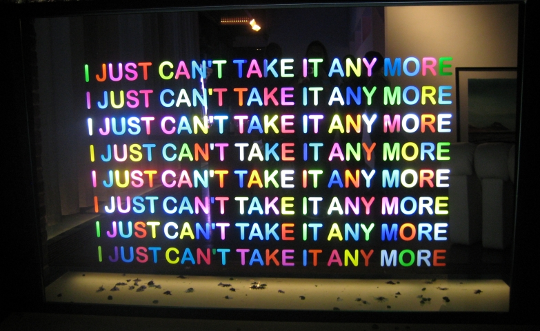 "Modern neon design with the text ""I just can't take it anymore""."