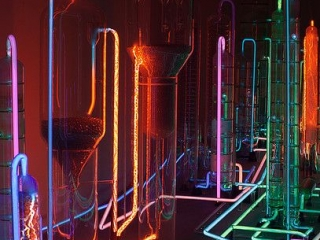 """Different colored neon wires were used to create the """"Neon City"""" by Mauro Luna."""