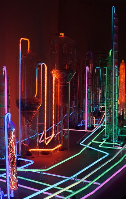 "Different colored neon wires were used to create the ""Neon City"" by Mauro Luna."