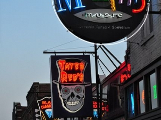 Many different neon signs seen on Beale Street.