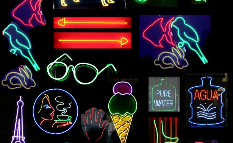 "Photograph taken by Michael Ledray called ""Neon Sign Series With Symbols Of Various Shapes And Colors""."