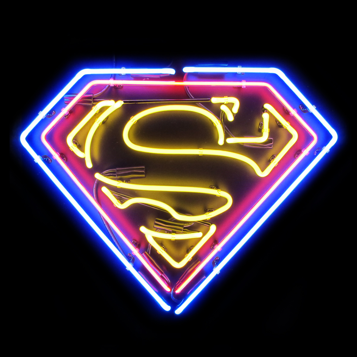 Superman logo sign made with neon light.