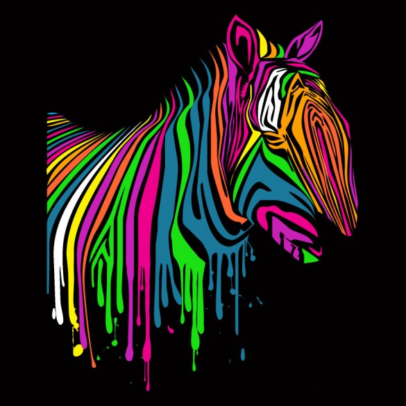 Zebrart tee design using dripping neon colors on a black background.